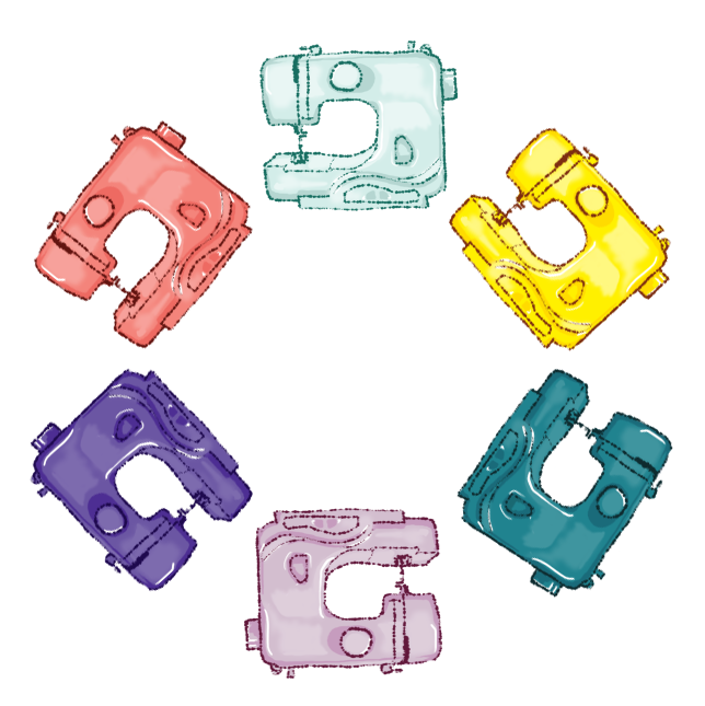 A circle of brightly-coloured sewing machines