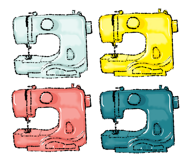 Illustration of four brightly coloured sewing machines