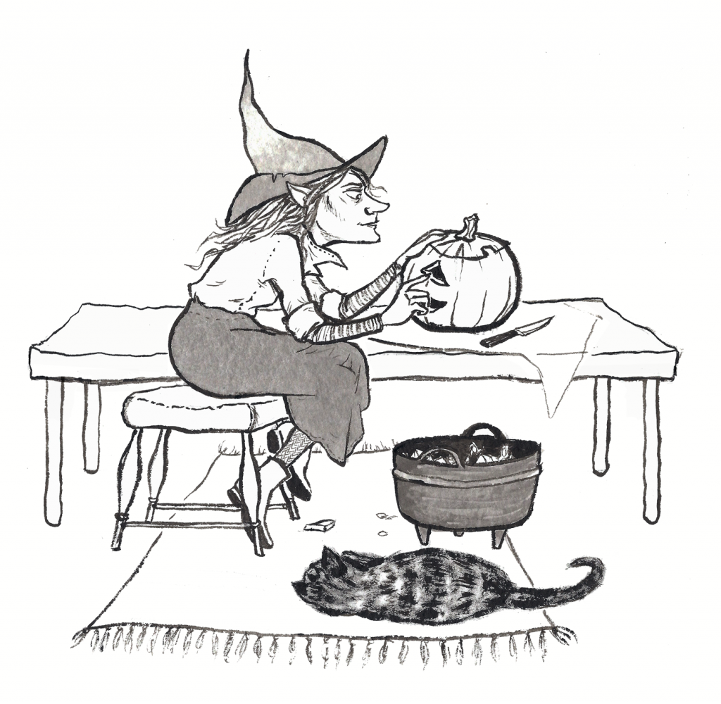 Ink illustration of a witch carving a pumpkin, with her cat asleep on the rug