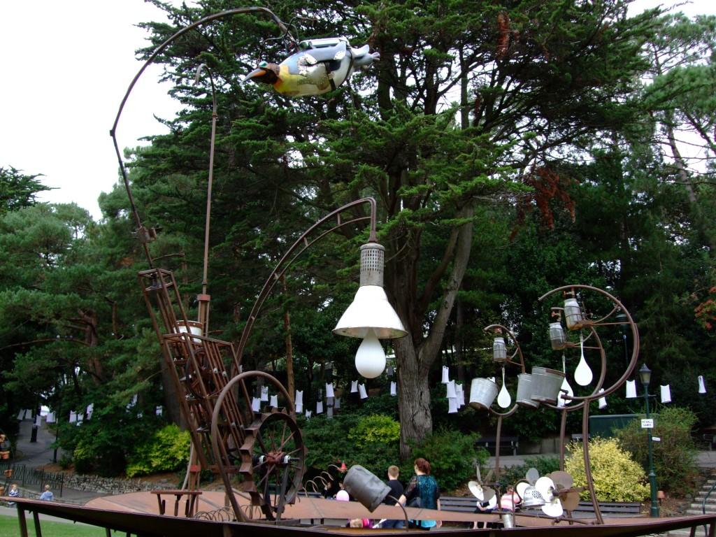 Carabosse Fire Gardens - weird penguin sculpture? Bournemouth Arts by the Sea Festival 2014.