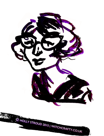 Ink sketch of a woman with glasses