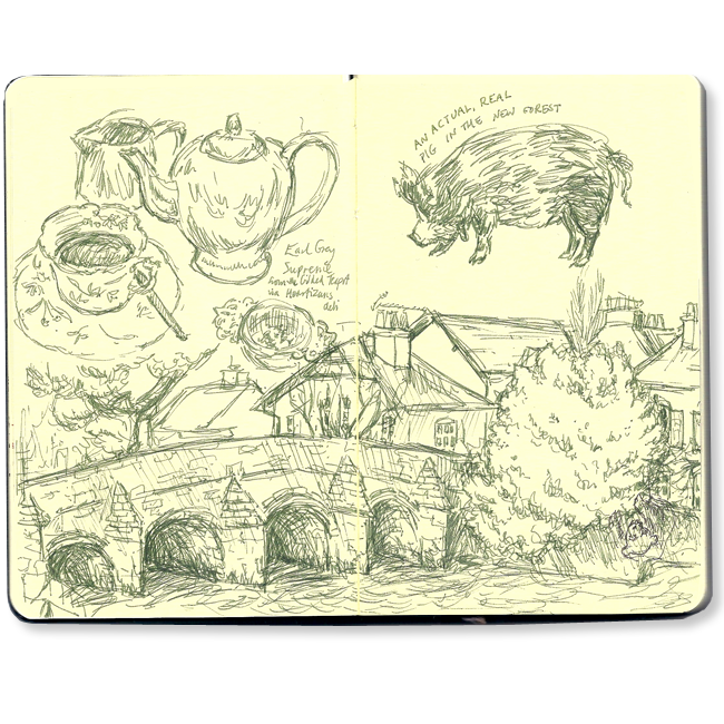 Teapot, bridge over the river at Christchurch, and a pig we found in the forest