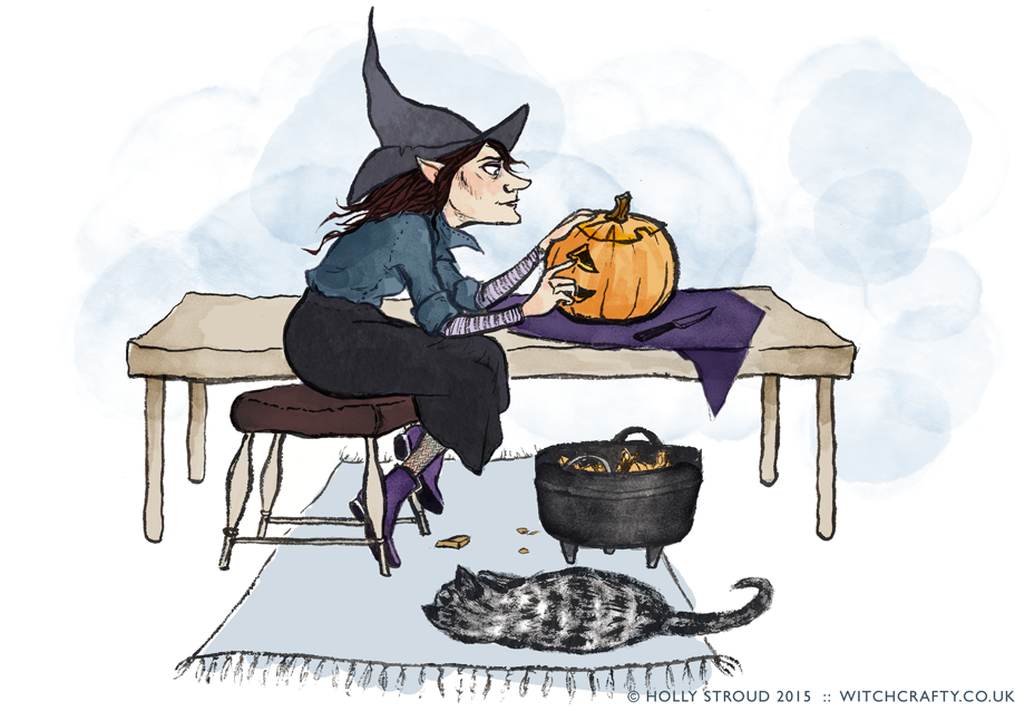 A witch carves a jack o'lantern. A cat is asleep on the rug.