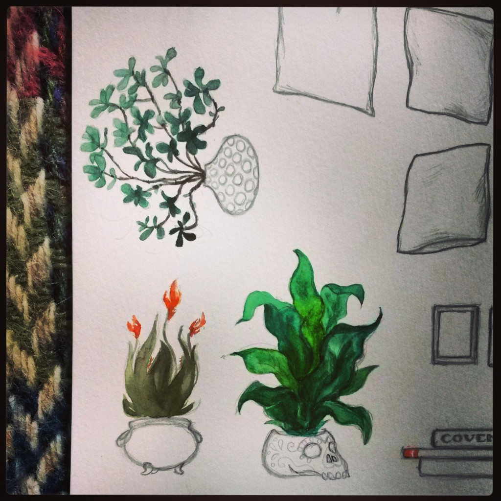 Instagram Flashback: LAIR potted plants being painted. Witchcrafty Illustration.