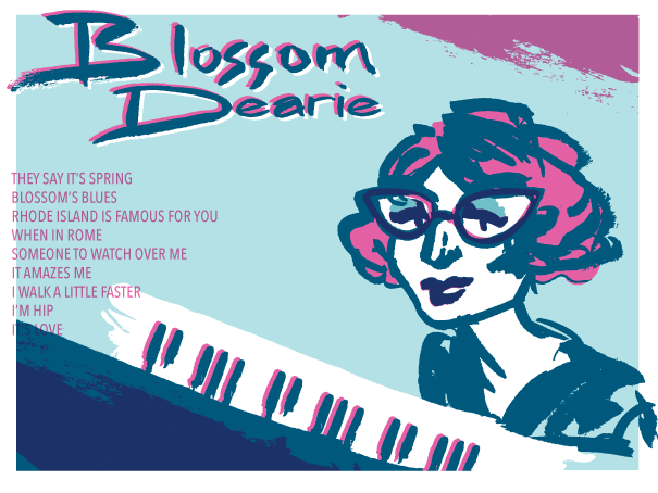 Experimental illustrated 'poster' for jazz artist Blossom Dearie - by Holly Stroud of Witchcrafty Illustration