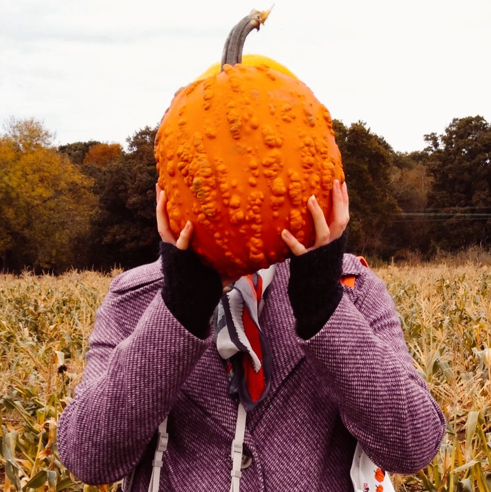 Woman holding a warty pumpkin in front of her face. She wears a purple coat and black fingerless gloves. Behind her is a corn field and a forest.