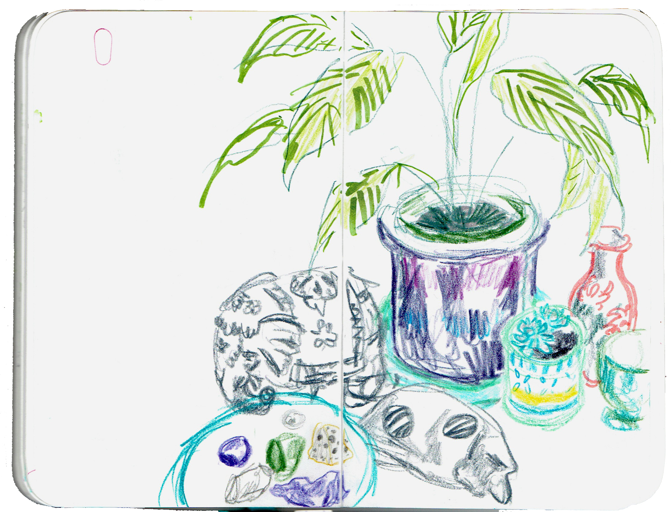 Colourful pencil sketch of potted plants, an elephant ornament, a marble cat, and some gemstones on a plate