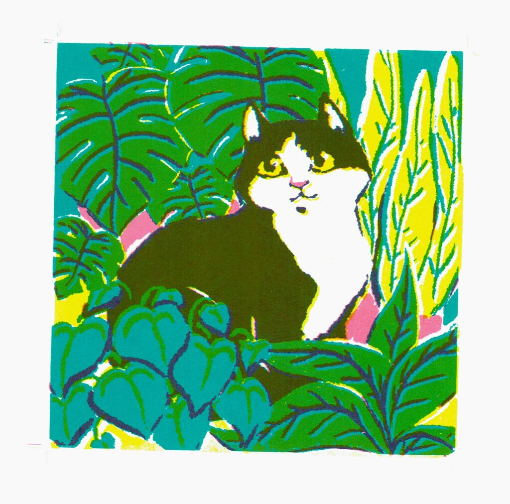 3-colour screen print of a black and white cat amongst plants, in different shades of green and teal