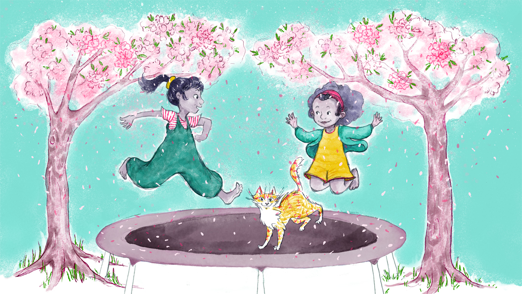 Two children and a cat bounce on a trampoline, flanked by two trees; with pink blossom petals falling around