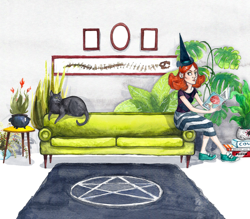 Watercolour illustration of a young, red-haired, pale-skinned witch sat on a lime green sofa, with a black cat. There are many potted plants and a blue-grey rug with a pentagram design.