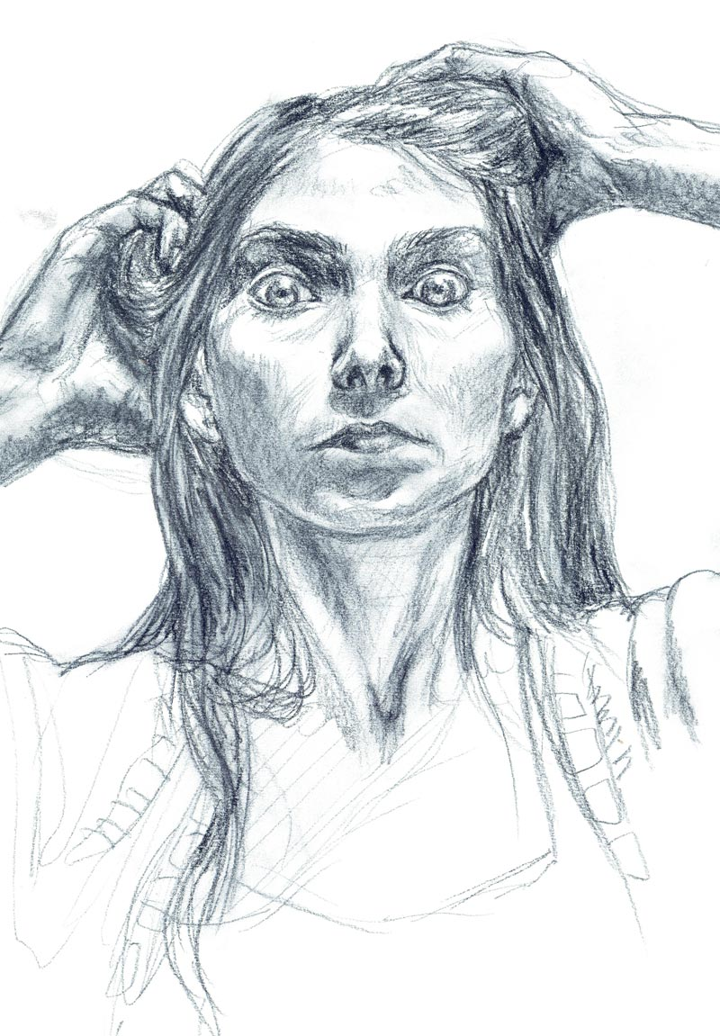 Pastel pencil sketch of a woman's face, hands and shoulders. She is white, in her early 30's with long hair, and staring eyes, lit from above