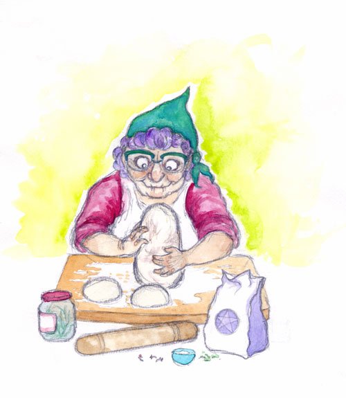 Illustration: An old woman is shaping bread dough into an oblong shape. She wears a bright turquoise headscarf and turquoise glasses, and her hair is purple and curled. In front of her are rolling pin, jar of herbs, and a flour packet printed with a pentagram.