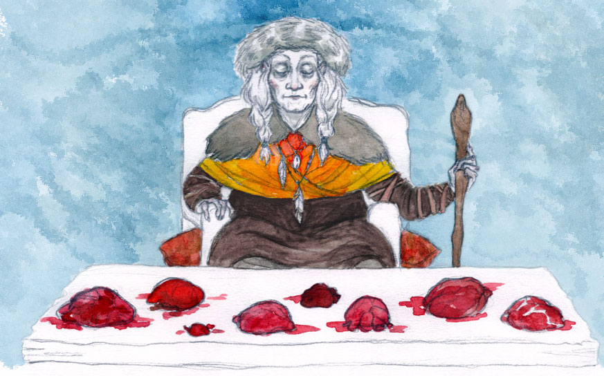 Illustration of an elder woman, sat behind a table on which animals' hearts have been placed. She wears a fur hat and holds a staff. Her eyes are closed in peace or concentration.